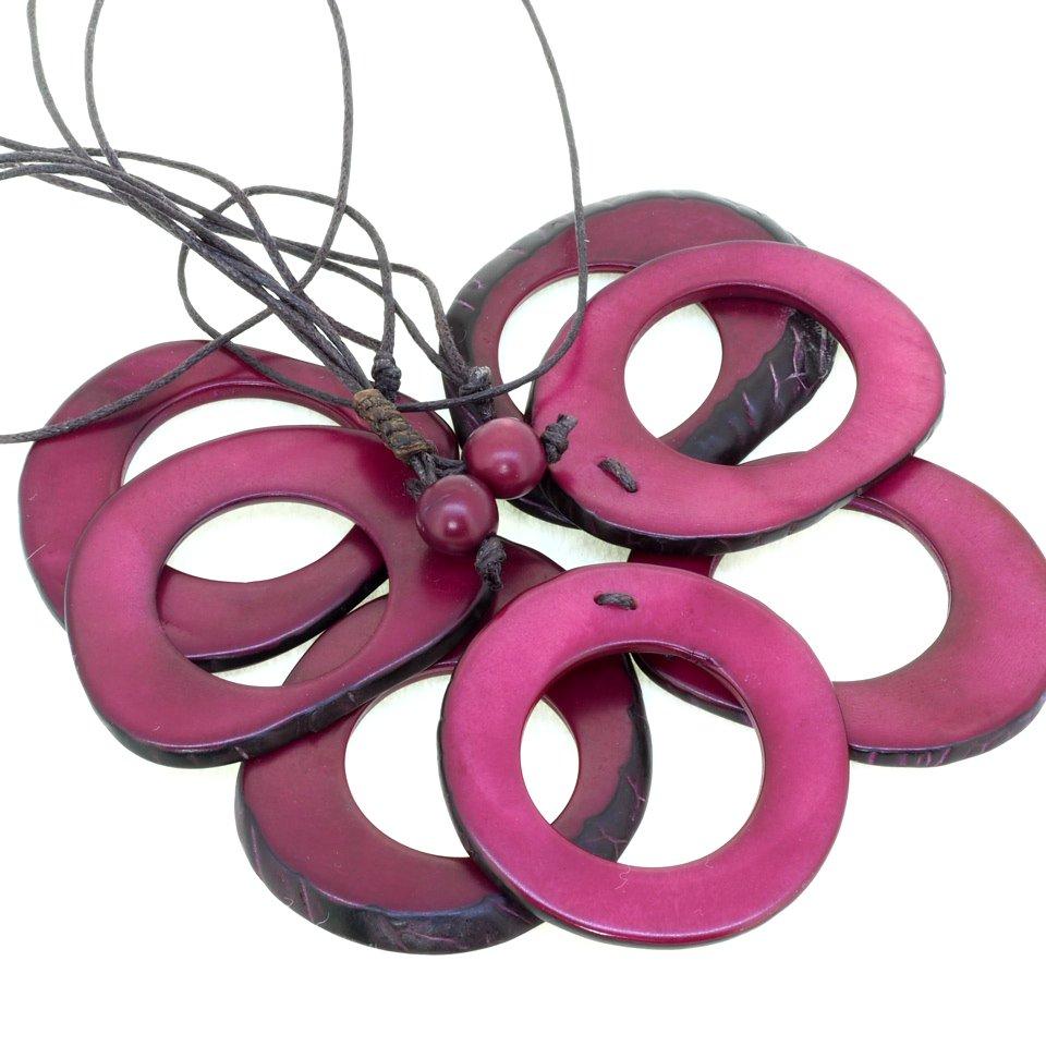 Tagua(タグア)7連ネックレス兼グラスホルダー Purple1