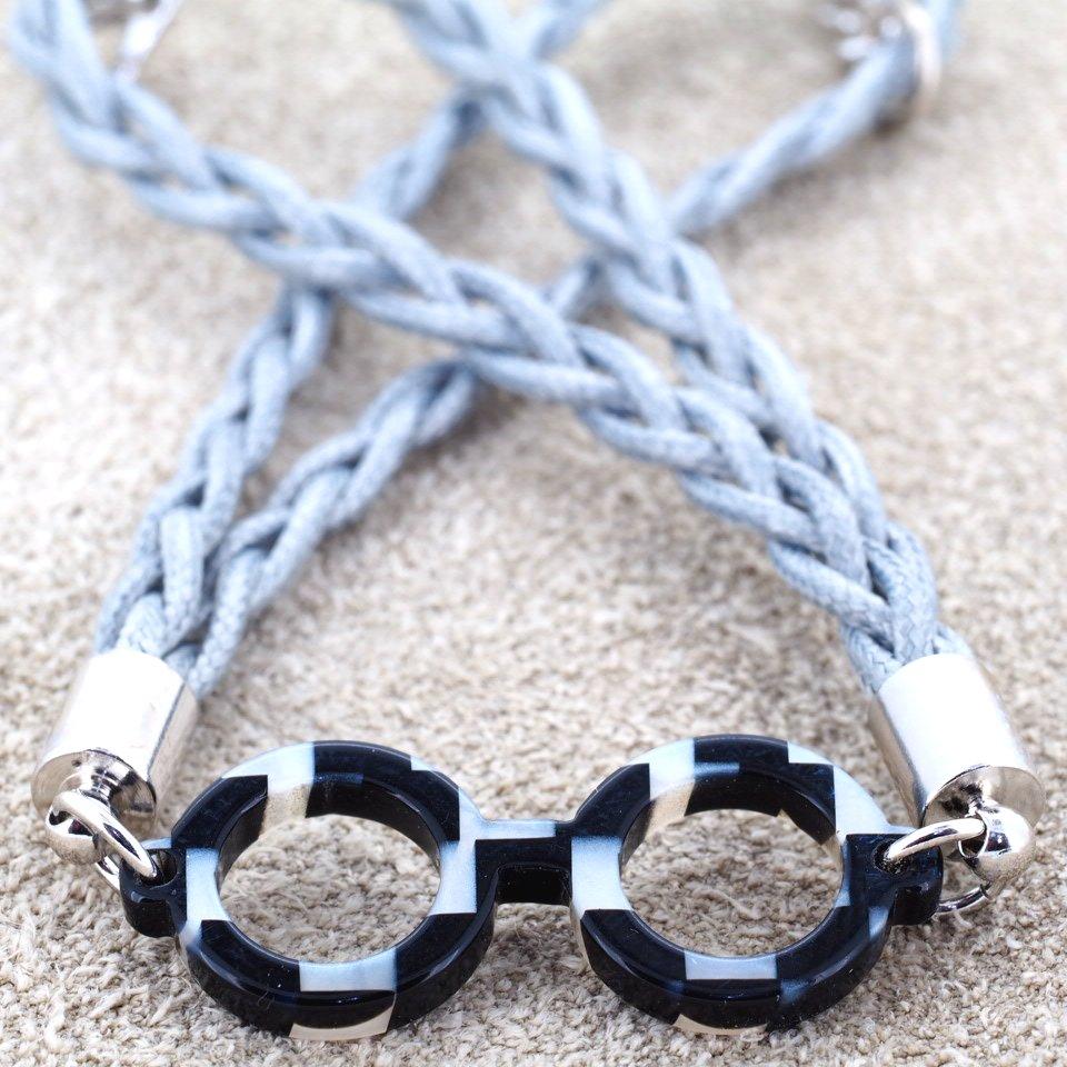 【Bonny L. / ボニーエル】 メガネ型ブレスレット ラウンド (ブラック) | メガネモチーフアクセサリー