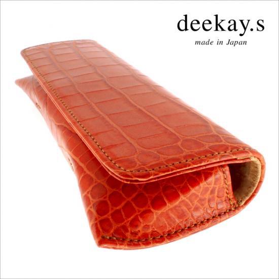 【deekay.s / ディーケイエス】 マグネットフラップケース クロコ型押し (オレンジ) | レザーメガネケース