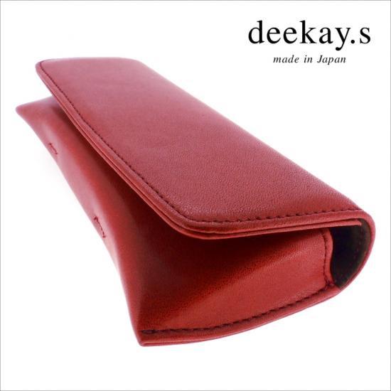 【deekay.s / ディーケイエス】 マグネットフラップケース プレーン (ワイン) | レザーメガネケース