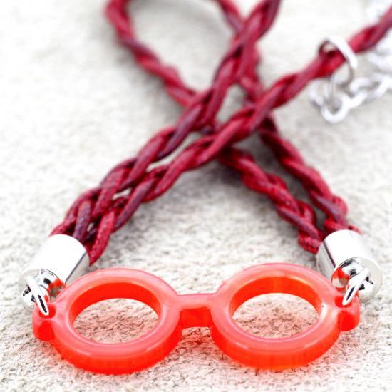 【Bonny L. / ボニーエル】 メガネ型ブレスレット ラウンド (レッド) | メガネモチーフアクセサリー