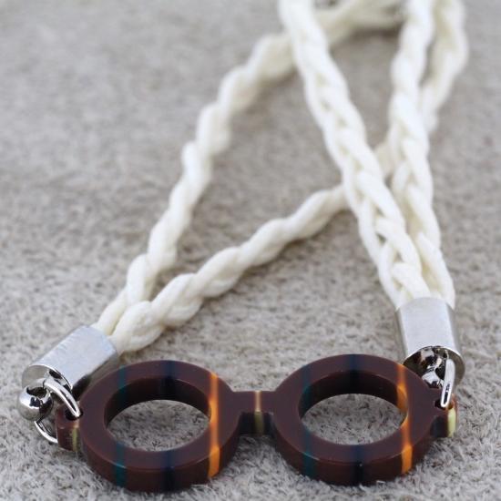【Bonny L. / ボニーエル】 メガネ型ブレスレット ラウンド (ダークブラウン) | メガネモチーフアクセサ…