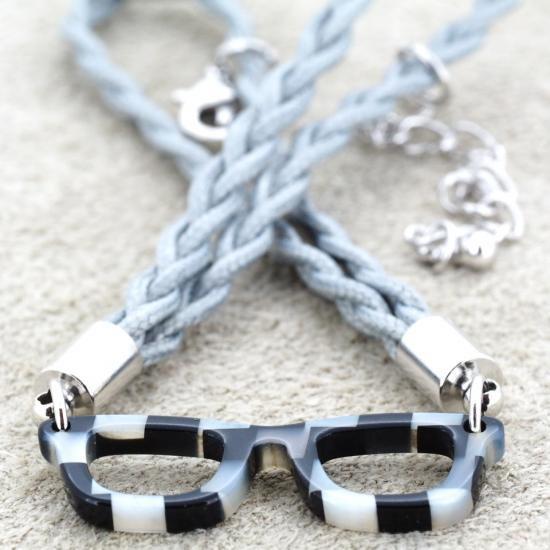 【Bonny L. / ボニーエル】 メガネ型ブレスレット ウェリントン (ブラック)   メガネモチーフアクセサリー