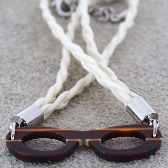【Bonny L. / ボニーエル】 メガネ型ブレスレット フォックス (ダークブラウン) | メガネモチーフアクセサ…