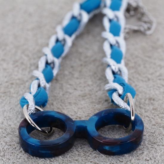 【Bonny L. / ボニーエル】 メガネ型ブレスレット ラウンド 編込み (ブルー) | メガネモチーフアクセサリー