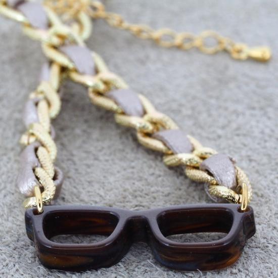 【Bonny L. / ボニーエル】 メガネ型ブレスレット ウェリントン 編込み (グレー) | メガネモチーフアクセサ…