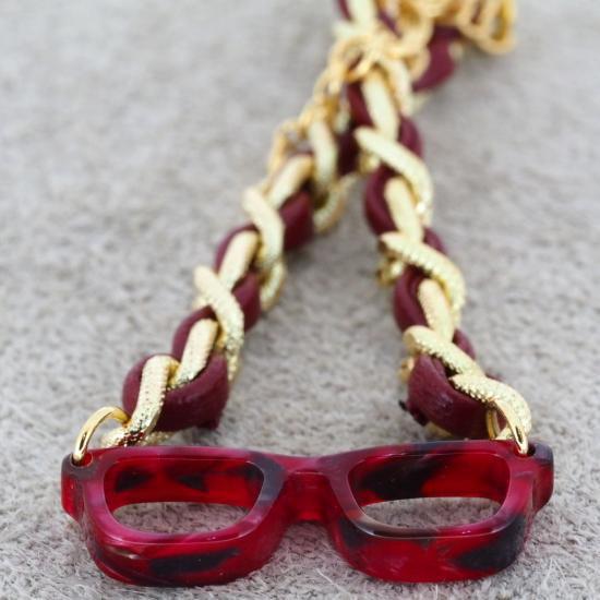 【Bonny L. / ボニーエル】 メガネ型ブレスレット ウェリントン 編込み (レッド) | メガネモチーフアクセサ…