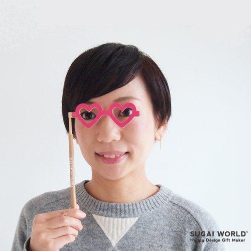 【SUGAI WORLD / スガイワールド】 変装ペン / Photo props pen (ハート) | メガネモチーフ,ボールペン