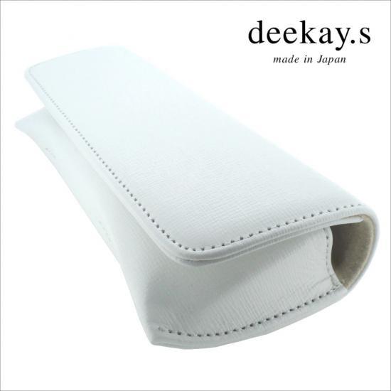 【deekay.s / ディーケイエス】 マグネットフラップケース エピ柄 (ホワイト) | レザーメガネケース