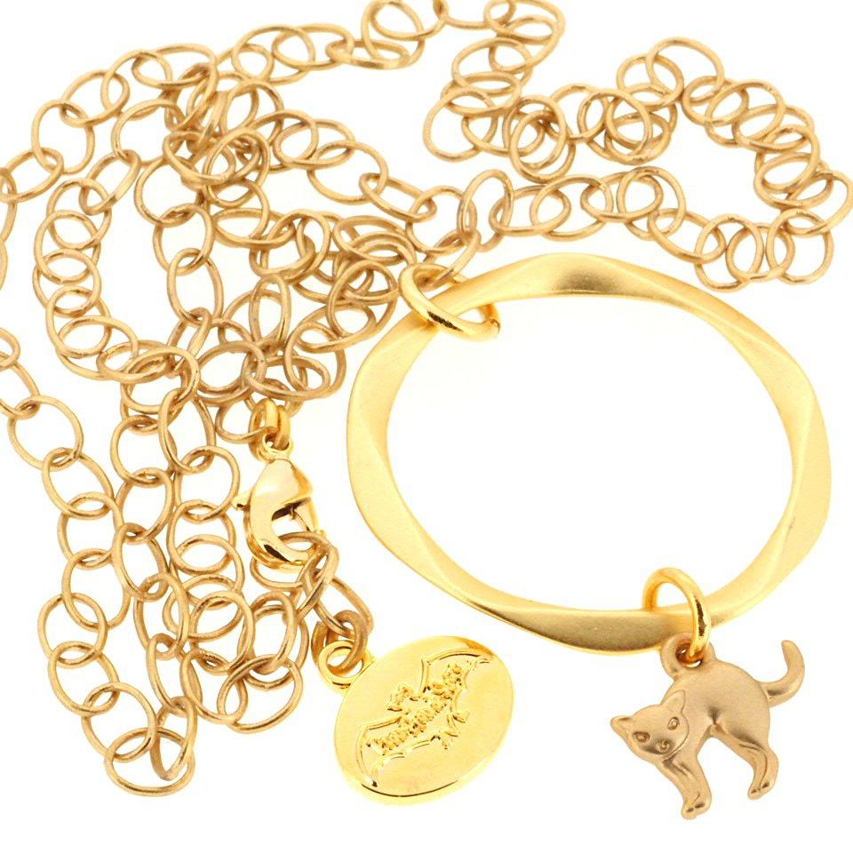 【Frou-Frou de Sucre / フルフルドシュクル】 グラスホルダー ネコ(ゴールド)|ネックレス兼用