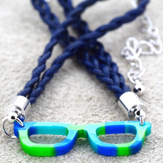 【Bonny L. / ボニーエル】 メガネ型ブレスレット ウェリントン (ブルー) | メガネモチーフアクセサリー