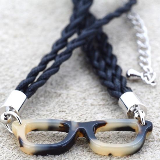 【Bonny L. / ボニーエル】 メガネ型ブレスレット ウェリントン (ブラウン) | メガネモチーフアクセサリー