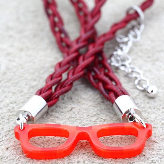 【Bonny L. / ボニーエル】 メガネ型ブレスレット ウェリントン (レッド) | メガネモチーフアクセサリー