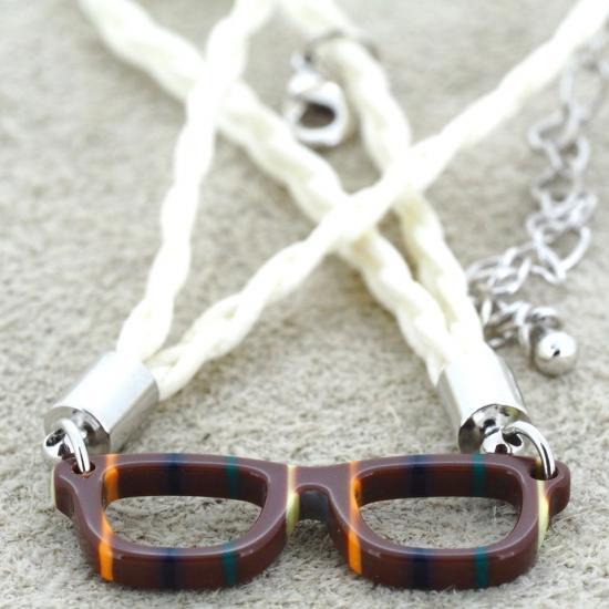 【Bonny L. / ボニーエル】 メガネ型ブレスレット ウェリントン (ダークブラウン) | メガネモチーフアクセサ…