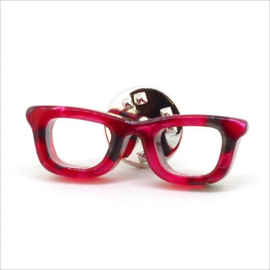 【Bonny L. / ボニーエル】 メガネピンブローチ ウェリントン (レッド) | メガネ素材アクセサリー