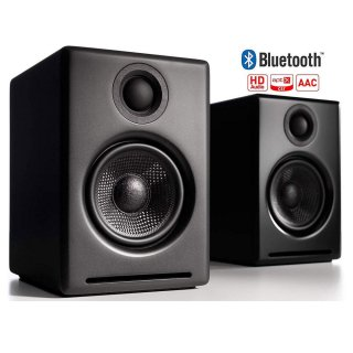 【ケーブル使用他、ワイヤレス/Bluetooth対応】Audioengineスピーカー/超小型ラウドスピーカー黒(アンプ内蔵)2台1セット