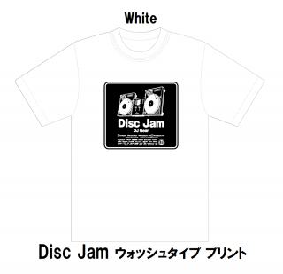 <img class='new_mark_img1' src='https://img.shop-pro.jp/img/new/icons15.gif' style='border:none;display:inline;margin:0px;padding:0px;width:auto;' />Disc Jam/Tシャツ白(XLサイズ)「ウォッシュタイププリント」