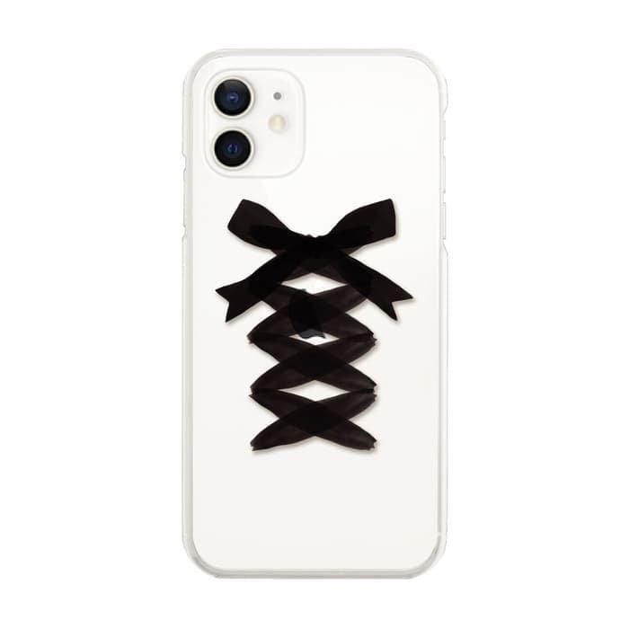 スマホケース<br>LACE UP BLACK RIBBON<br>iPhone13対応<br>〈クリア〉