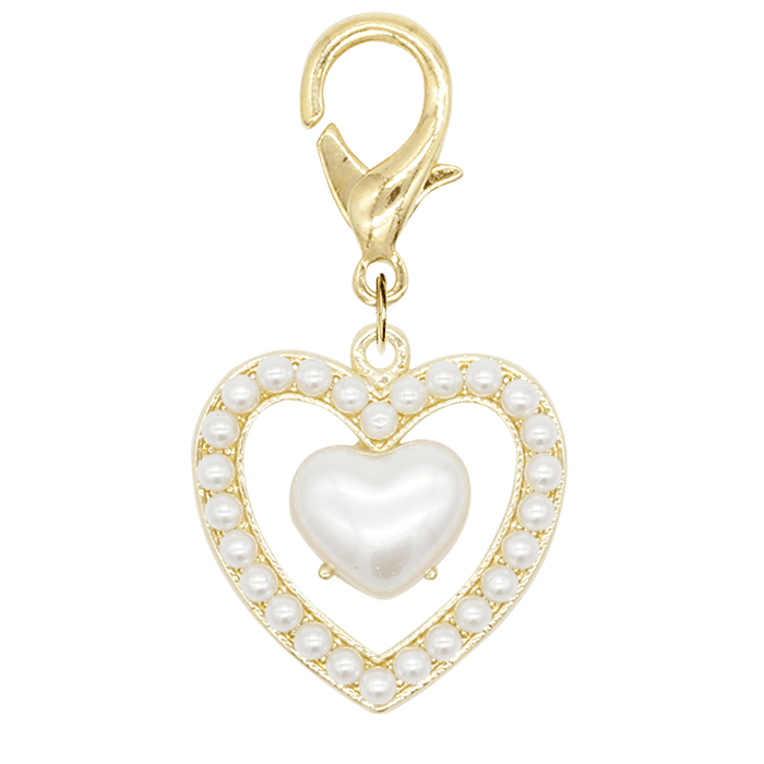MINI PEARL DOUBLE HEART<br>〈マルチチャーム〉