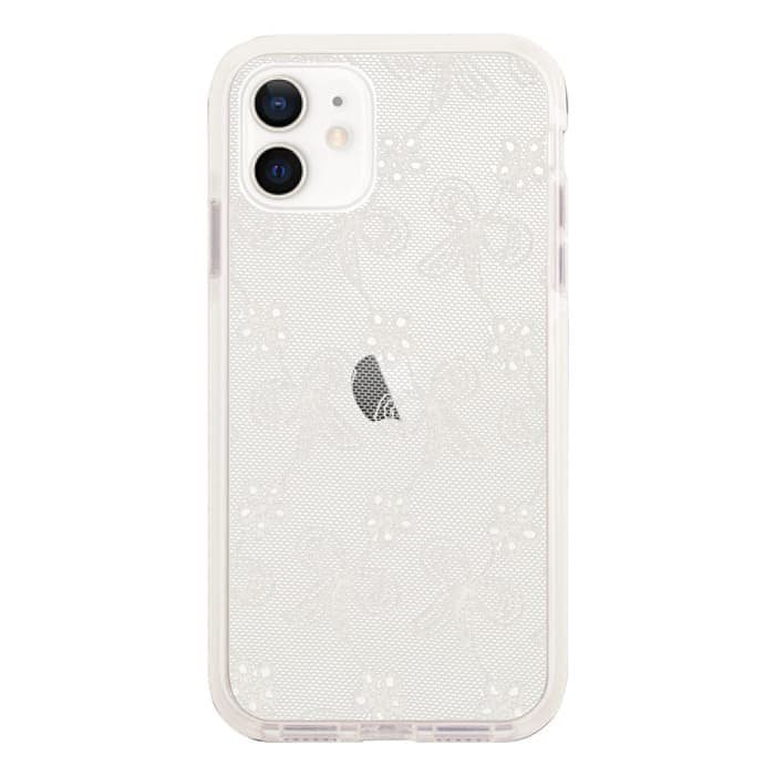 iPhoneケース<br>FABRIC RIBBON LACE<br>〈ホワイトクッションバンパー〉