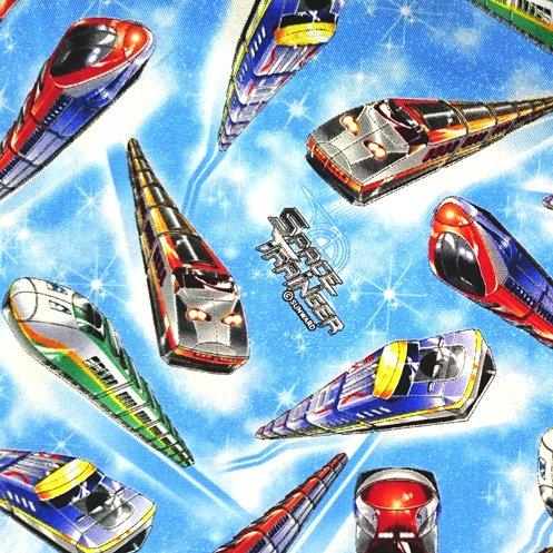 スペーストレイン 綿オックス 生地 水色 電車 宇宙 110cm幅 (50cm以上10cm単位)
