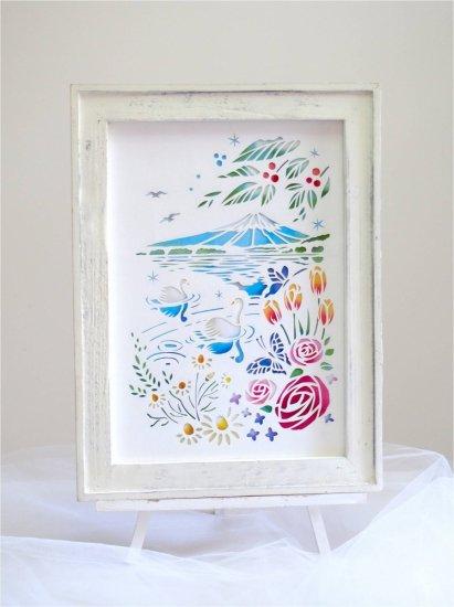 切り絵作家 平石智美 白い切り絵  「花咲く湖畔」