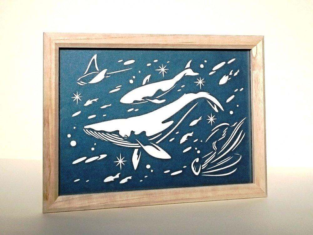 青切り絵「海の中/in the sea」