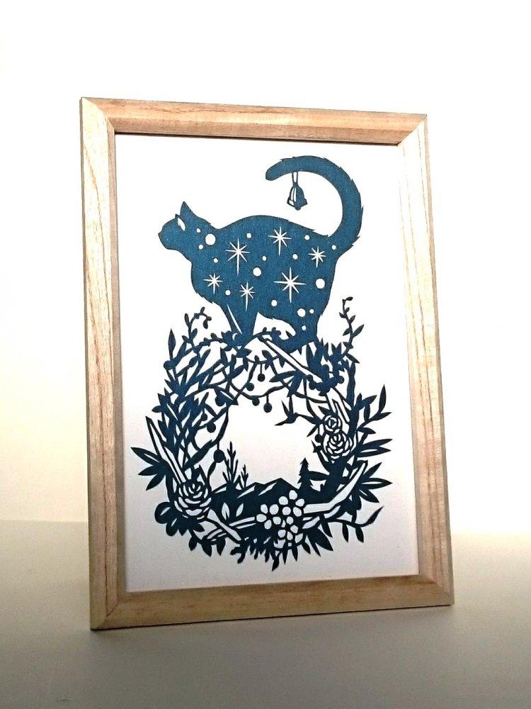 青切り絵「ねこリース/cat wreath」