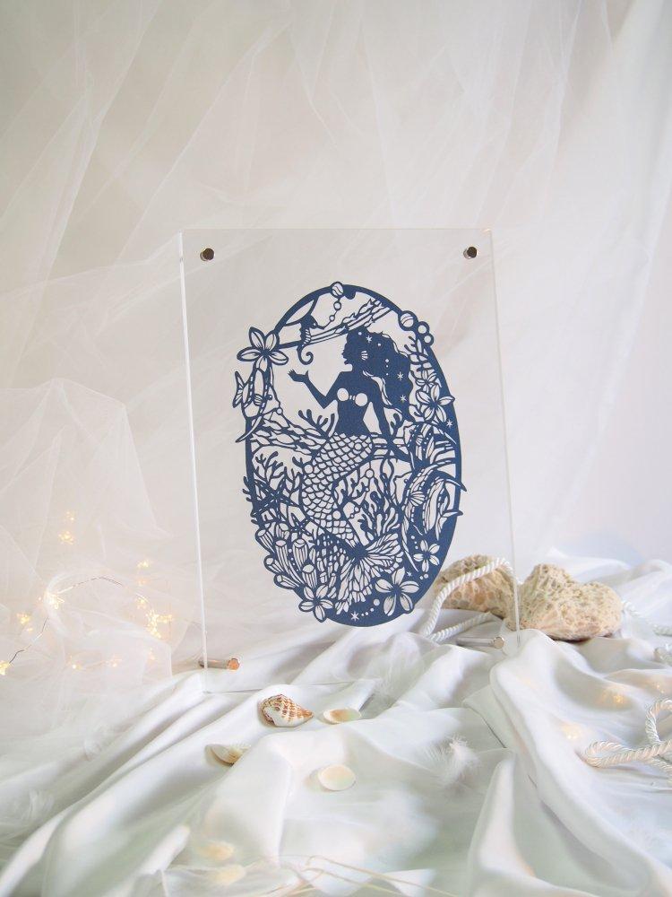 青切り絵「人魚姫/mermaid」