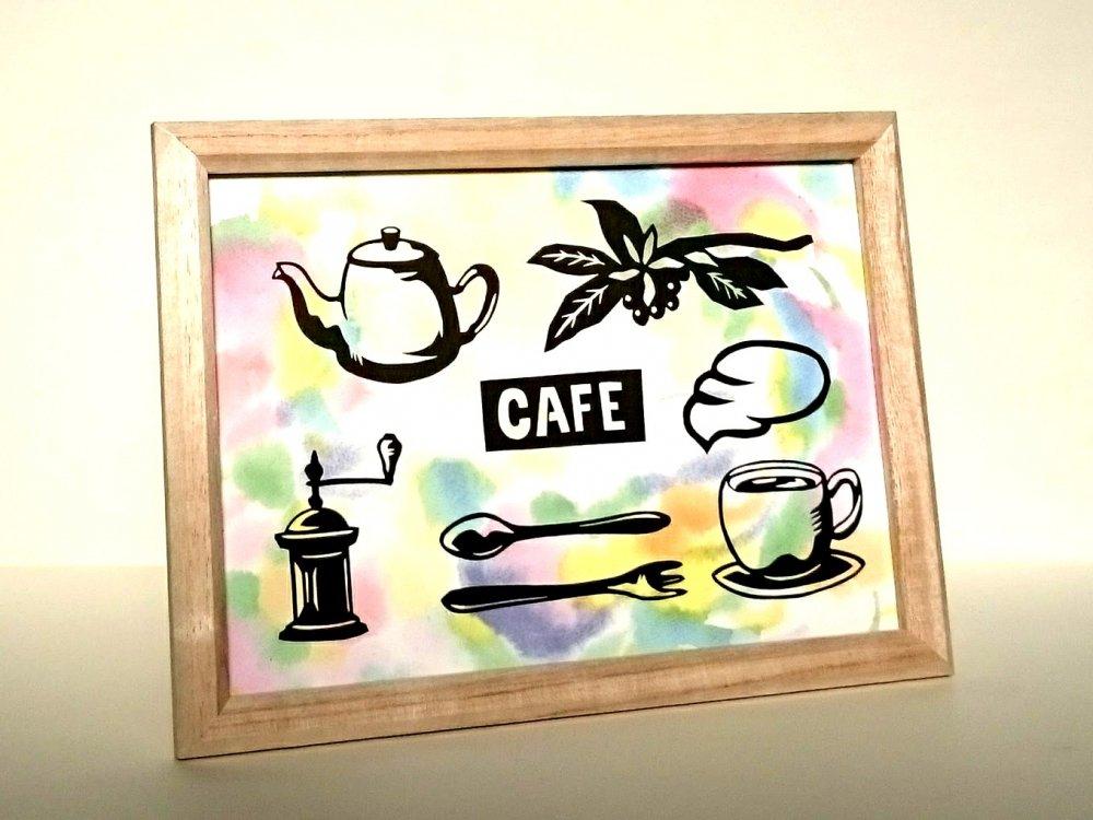 黒切り絵「カフェ/CAFE」
