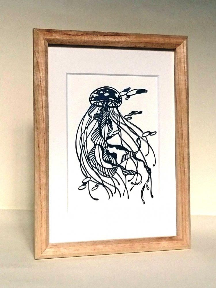 青切り絵 くらげ/Jellyfish
