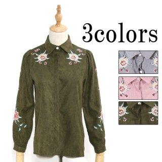 華刺繍のスウェード系素材シャツ