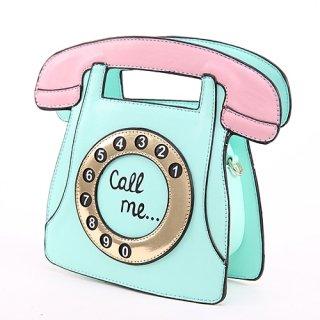 レトロお電話モチーフデザインのパステル配色ショルダーバッグ