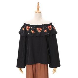 花刺繍フリル襟オフショル2Wayトップス