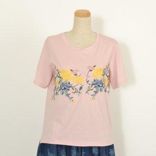 センターフラワー刺繍Tシャツ