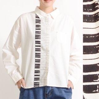 ピアノ鍵盤プリント★長袖シャツ