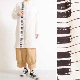 ピアノ鍵盤プリント★長袖シャツワンピース