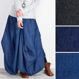 フロントポケット付き★柔らか素材変形ロングスカート