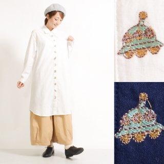 宇宙柄刺繍★長袖シャツワンピース