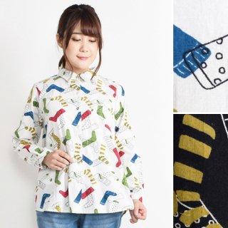 カラフル配色ソックス柄★長袖シャツ/ブラウス