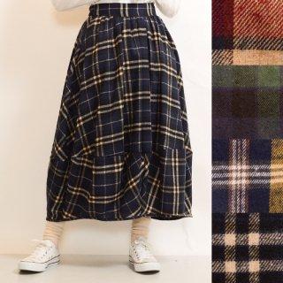 裾切り替え★チェックバルーンスカート