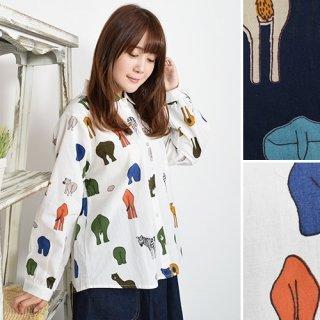 カラフルアニマルプリント★長袖シャツ/ブラウス