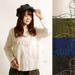 アニマルランド刺繍長袖シャツ