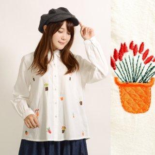 カラフルプラント刺繍シャツ