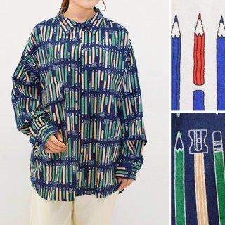 2色鉛筆柄ゆったり長袖シャツ/ブラウス