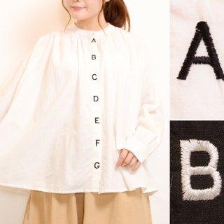 アルファベット刺繍長袖バルーンシャツブラウス