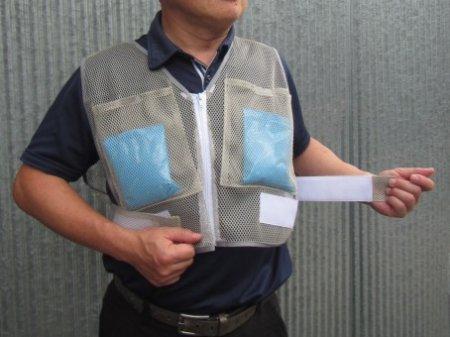 ポケット付メッシュベスト(保冷剤4個セット)