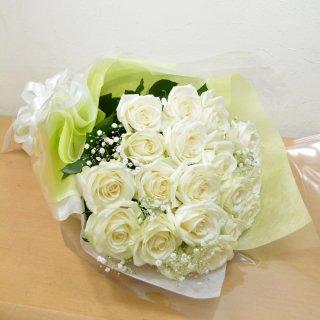 生花 白バラ20本&かすみ草 花束