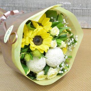 生花 ひまわり&白ピンポンマム&バラ ブーケ型花束