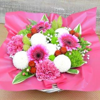 生花 白ピンポンマム&ピンク系フラワー アレンジメント